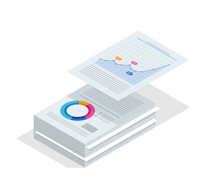 Isometric stack of documents. Bureaucracy concept. Data Analysis, Business Statistic, Management, Consulting, Marketing.