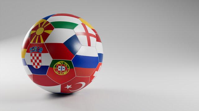 Euro Flag Football Isolated on White Background. UEFA Euro 2020 themed Match Ball.