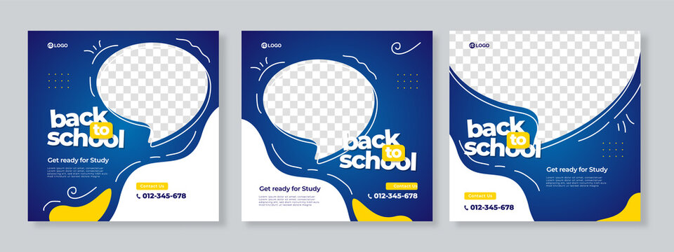 Set of three blue yellow organic fluid background of back to school social media pack template premium vector