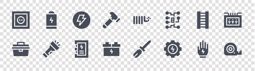 Fototapeta electrician tools and glyph icons on transparent background. quality vector set such as measure tape, settings, accumulator, toolbox, ladder, electricity, copper cable, empty battery obraz