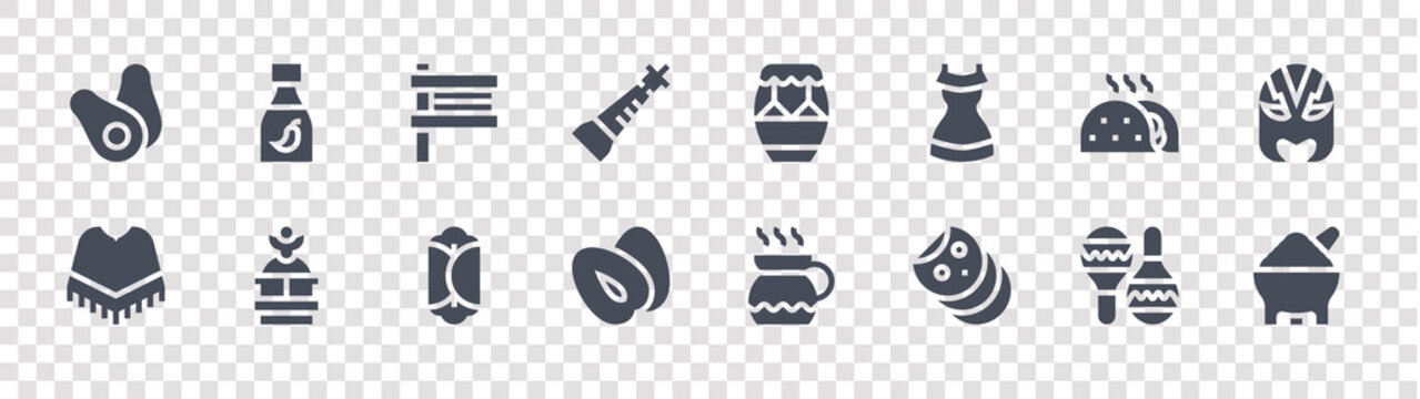 mexico glyph icons on transparent background. quality vector set such as molcajete, tortilla, mammee, poncho, taco, matraca, huehuetl, chili sauce
