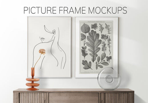 Frames Mockup on Wooden Sideboard