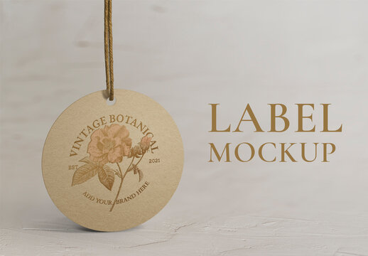 Round Label Tag Mockup in Vintage Style