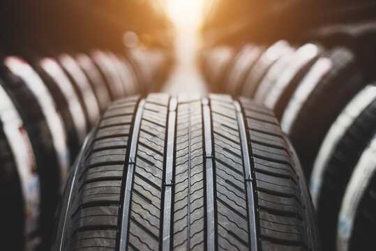 Tire is placed on the tire storage rack in the car service center. Be prepared for vehicles that need to change tires.
