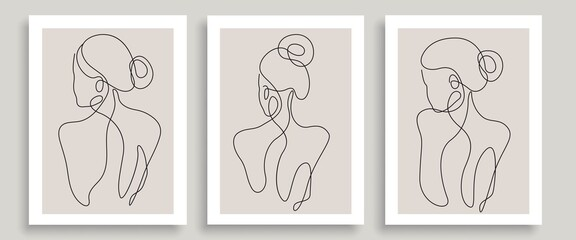 Fototapeta Abstract Line Art Woman Body Vector Print Set. Continuous One Line Fashion Templates with Female Body in Modern Minimalist Simple Style. Beauty Girl Vector Illustration.