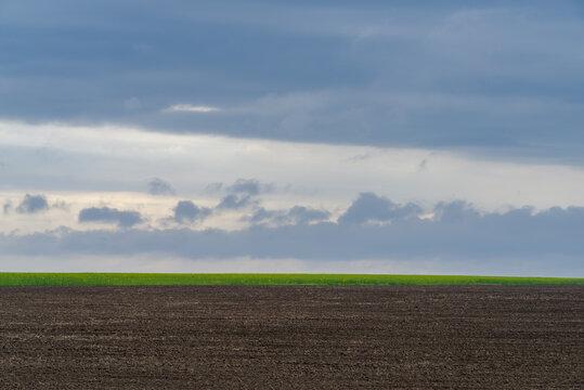 Field ploughed in spring. Podilski Tovtry nature reserve in Podolia region, South-Western Ukraine