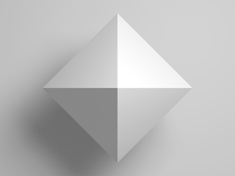 Regular octahedron. Abstract white 3d shape