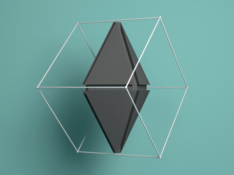 Abstract polygonal gray 3d shape. Rendering