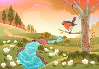 Romantic scenery with robin. Vector landscape illustration