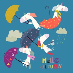 Obraz Funny Unicorns flying with Umbrellas in the Sky - fototapety do salonu