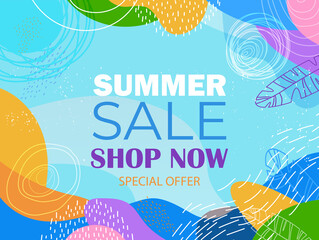 Fototapeta seasonal summer sale banner flyer or greeting card with decorative leaves and hand drawn textures obraz
