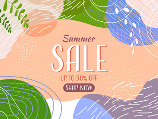 Fototapeta seasonal summer sale banner flyer or greeting card with decorative leaves and hand drawn textures horizontal obraz
