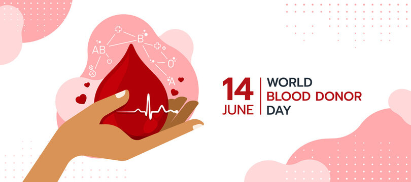 world blood donor day - hand holding red drop blood with blood type cell around and Heart rhythm wave sign vector design