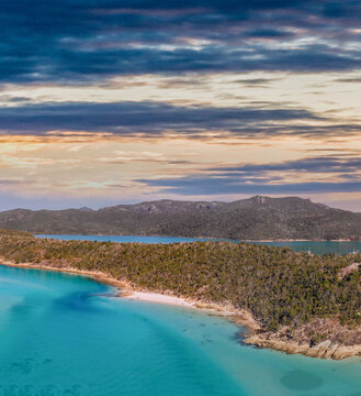 Aerial view of Queensland beaches, Australia. Whitsunday Islands Archipelago on a sunny day