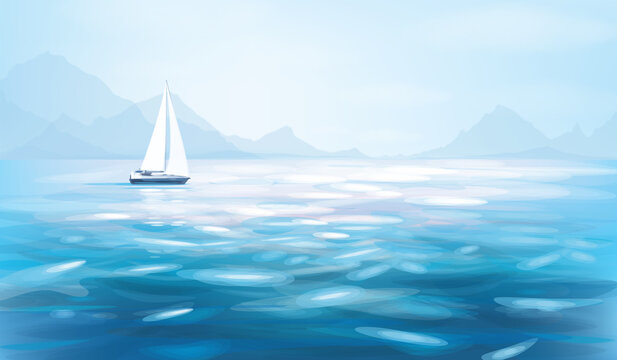Vector blue sea view and yacht. Blue seascape background.