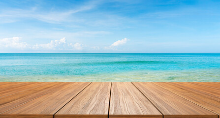 empty new wood table and tropical blue sea in background