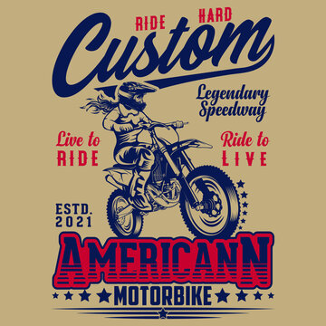 Motorcycle T-shirt Design - American Classic Motorcycle T-shirt - Classic Motorcycle Vintage Badge - Motorcycle Vector Graphic Illustration