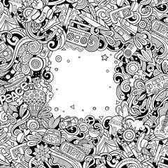 Obraz Hippie hand drawn vector doodles illustration. Hippy frame card design. - fototapety do salonu