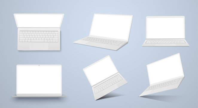 Realistic thin white laptop ultrabook mock up vector illustration. Collection gadgets, Mockups to showcase your web-site design. Digital technology with copy space for presentation. Mock up for design