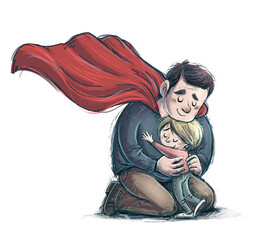 Obraz Illustration of superhero father hugging his son - fototapety do salonu