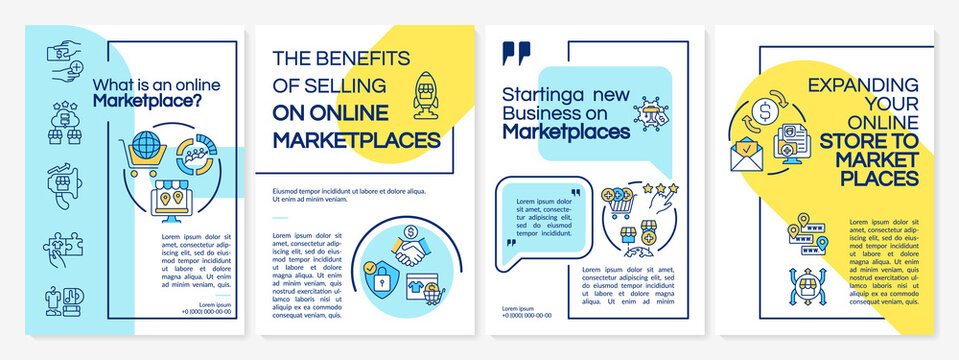 What is an online marketplace brochure template. E business ideas. Flyer, booklet, leaflet print, cover design with linear icons. Vector layouts for presentation, annual reports, advertisement pages