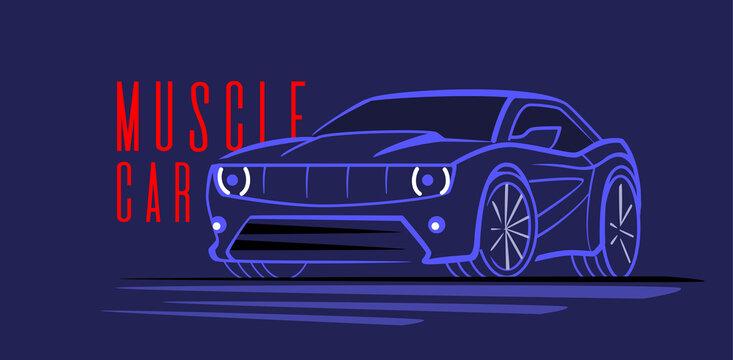 Vector line auto. Sport car design concept