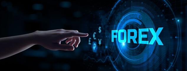 Obraz Forex trading stock market exchange robot automation. Hand pressing virtual button. - fototapety do salonu