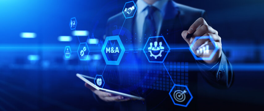 M&A Merger and acquisition business finance concept. Businessman pressing button.