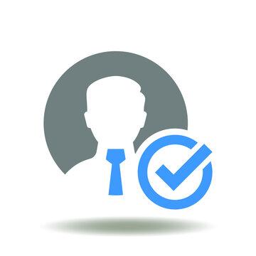 Businessman with check mark vector illustration. Register user ok symbol. Recruitment success icon. We are hiring logo.