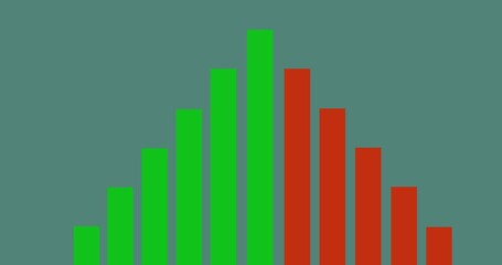Digitally generated image of green and red bar graohs against green background