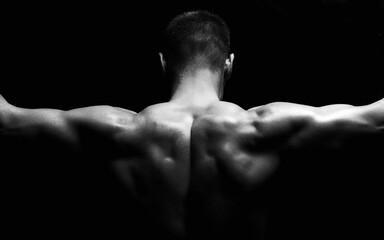 body-builder back. Naked body muscular Man - fototapety na wymiar