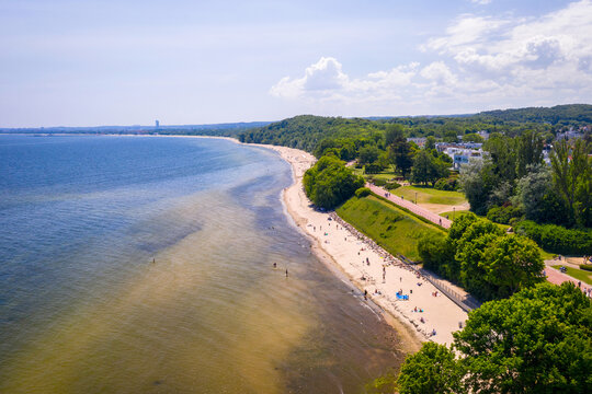 Aerial landscape of the beach by the Baltic Sea in Gdynia Orłowo at summer, Poland.