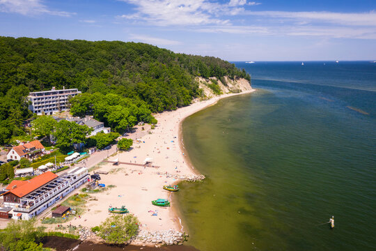 Aerial landscape of the cliff by the Baltic Sea in Gdynia Orłowo at summer, Poland.