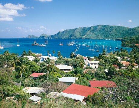 grenadines, bequia, british leeward islands, overview, boats, anchor, grenadine islands, west indies,