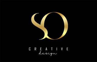 Fototapeta Golden SO s o letter design logo logotype concept with serif font and elegant style. Vector illustration icon with letters S and O. obraz