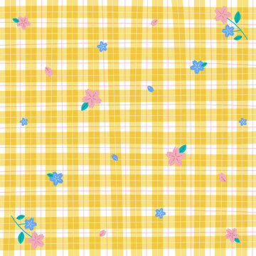 Yellow Gingham Sakura Flower Patterns Background Editable Stroke. Vector Illustration Tablecloth, Picnic mat, Fabric pattern, Textile.