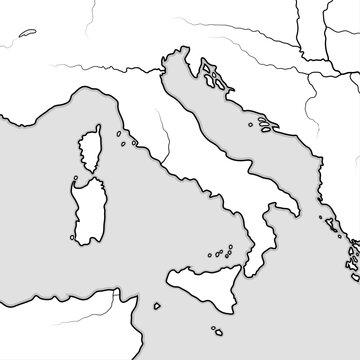 Map of The ITALIAN Lands: Italy, Tuscany, Lombardy, Sicily, Liguria, Umbria, Campania, Neapolitania, The Apennines, Italian Peninsula, Adriatic & Tyrrhenian Sea. Geographic chart with large islands.