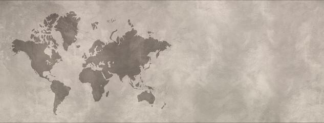 Obraz World map on concrete wall background. Horizontal banner - fototapety do salonu