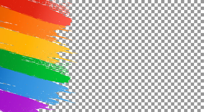 Rainbow LGBT flag brush paint texture isolated on png or transparent  background, Symboln of LGBT gay pride, space for text,vector illustration