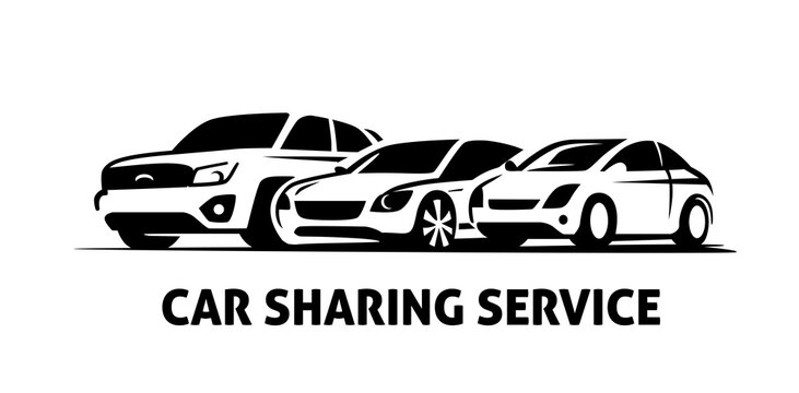Sharing Car Logo Template vector. Rent auto sign