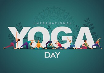 Obraz international yoga day. yoga body posture. group of Woman practicing yoga. vector illustration design - fototapety do salonu