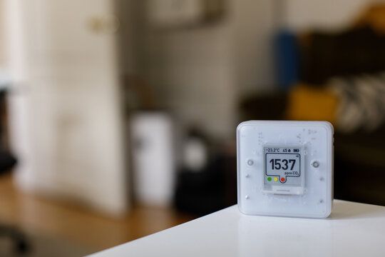 CO₂ sensor monitor. Bad Indoor air quality sensor. Healthy work environment. Work from home. Control proper ventilation in your levels airflow in the room. Carbon dioxide levels and airflow Smart home