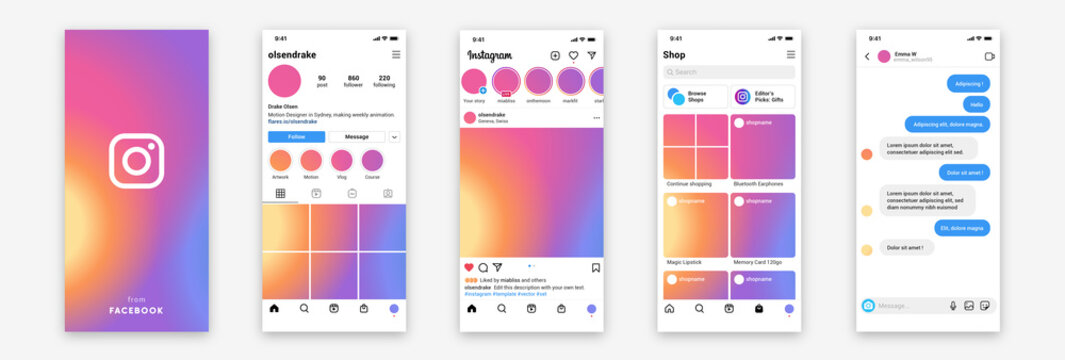 Realistic Instagram App template on white blank frame. Isolated Instagram social media screens for mock-up. Editable text, empty picture. Instagram interface set. Vector illustration.