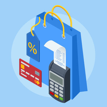 Isometric Online shopping banner, mobile app templates. Shopping cart on smartphone for online shopping concept, e-commerce banner, online payment and purchase via credit card