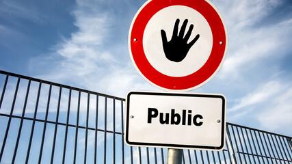 Fototapeta Street Sign Private versus Public obraz