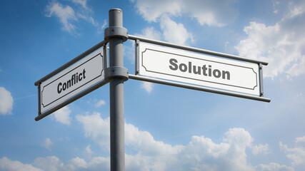 Fototapeta Street Sign Solution versus Conflict obraz