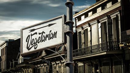 Fototapeta Street Sign to Vegetarian obraz