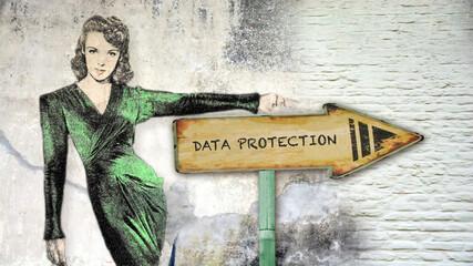 Fototapeta Street Sign DATA PROTECTION obraz