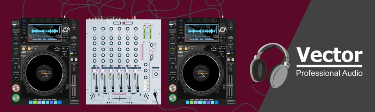 Innovative realistic DJ consol, which consists of CDJ players, mixing console and headphones. DJ table. Equipment that transmits high-quality sound. The theme of nightclubs, raves and locations.