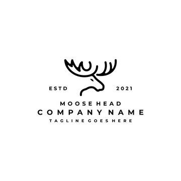Moose Deer line art logo vector icon illustration design